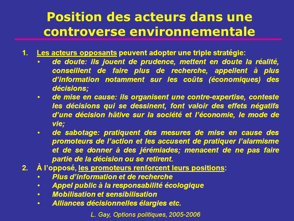 Position des acteurs dans une controverse environnementale