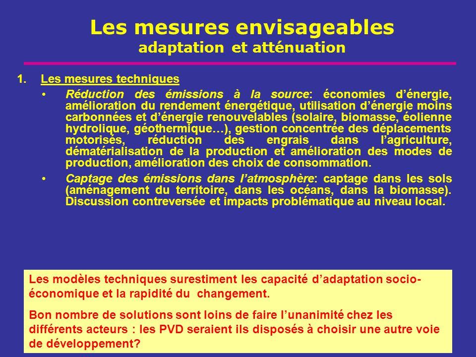 Les mesures envisageables adaptation et atténuation