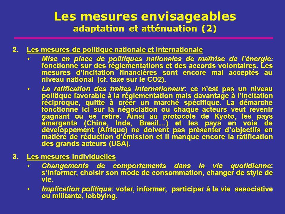 Les mesures envisageables adaptation et atténuation (2)
