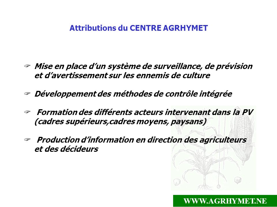 Attributions du CENTRE AGRHYMET