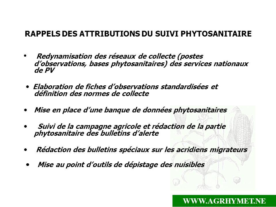 RAPPELS DES ATTRIBUTIONS DU SUIVI PHYTOSANITAIRE