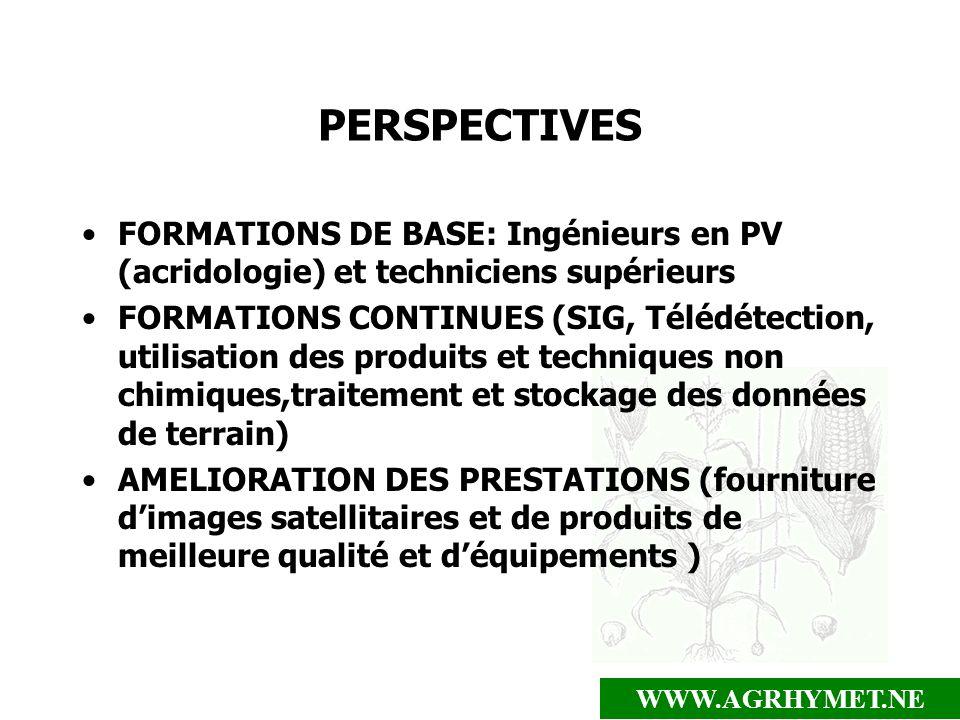PERSPECTIVES FORMATIONS DE BASE: Ingénieurs en PV (acridologie) et techniciens supérieurs.
