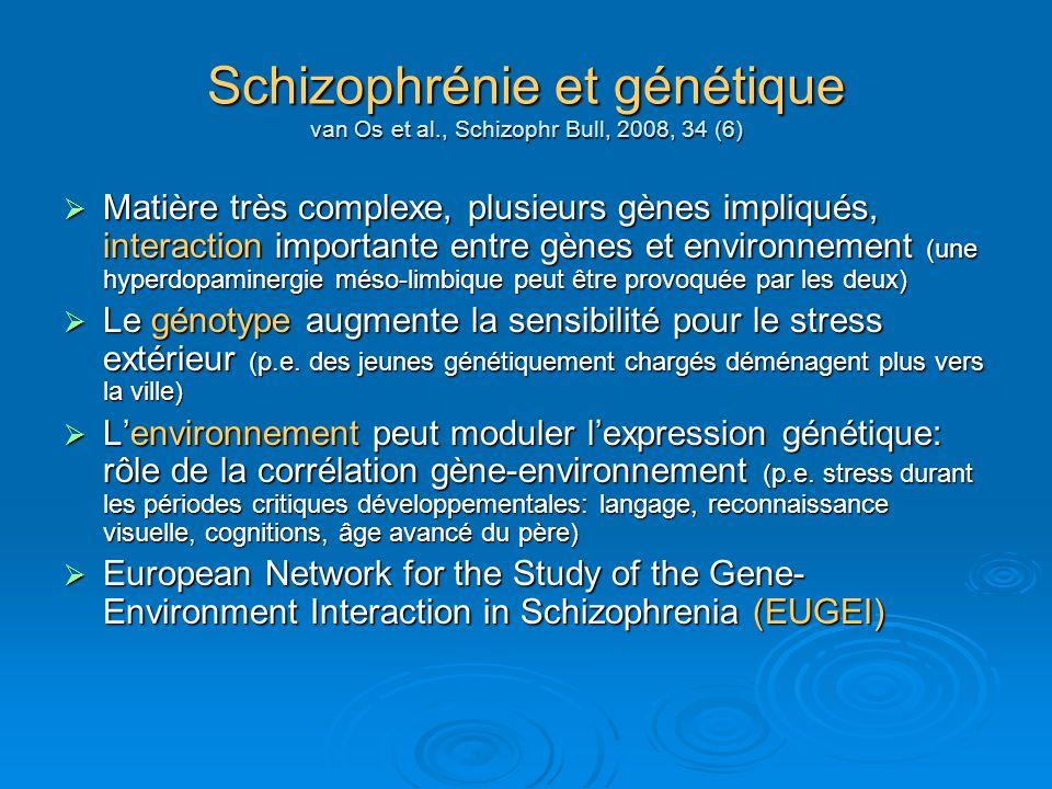 Schizophrénie et génétique van Os et al., Schizophr Bull, 2008, 34 (6)