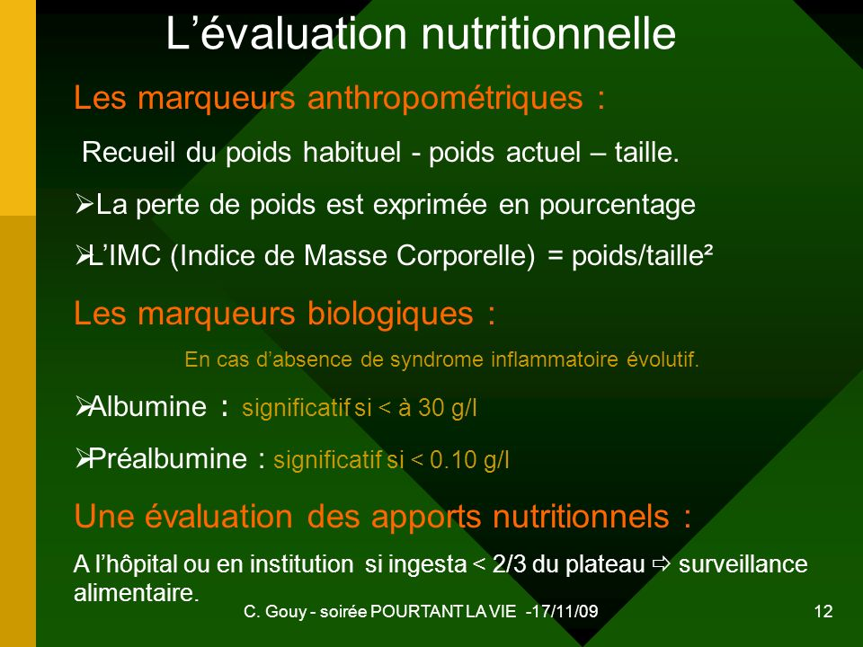 L'évaluation nutritionnelle