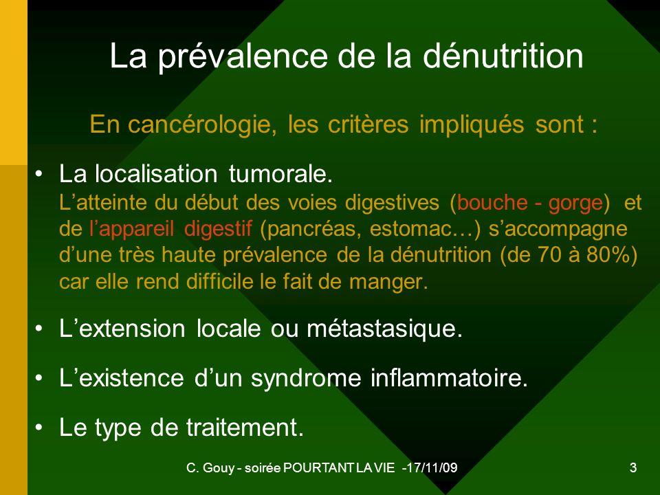 La prévalence de la dénutrition