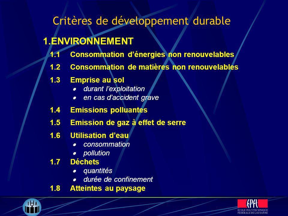 Critères de développement durable