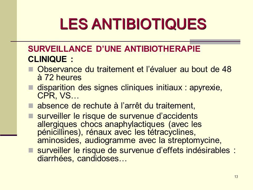 LES ANTIBIOTIQUES SURVEILLANCE D'UNE ANTIBIOTHERAPIE CLINIQUE :