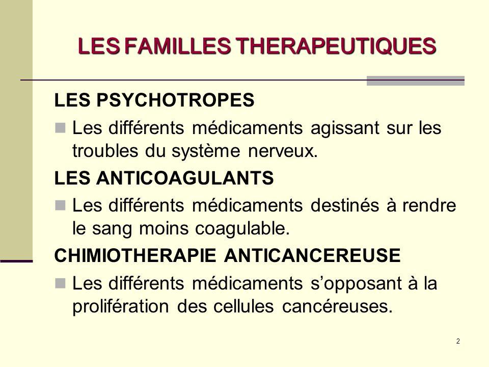 LES FAMILLES THERAPEUTIQUES