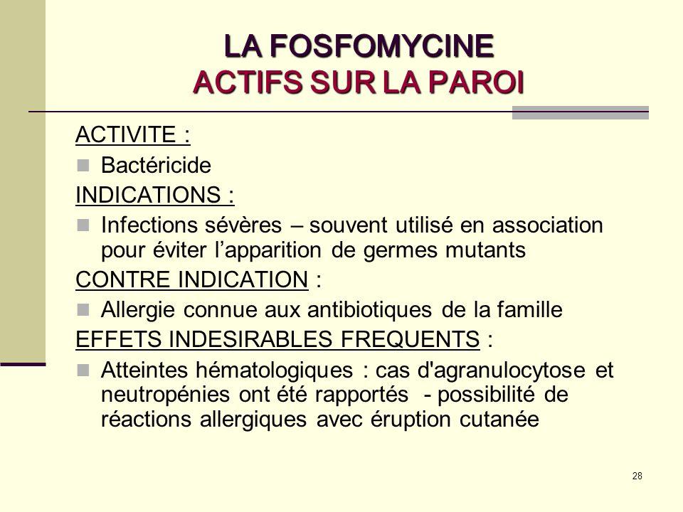 LA FOSFOMYCINE ACTIFS SUR LA PAROI