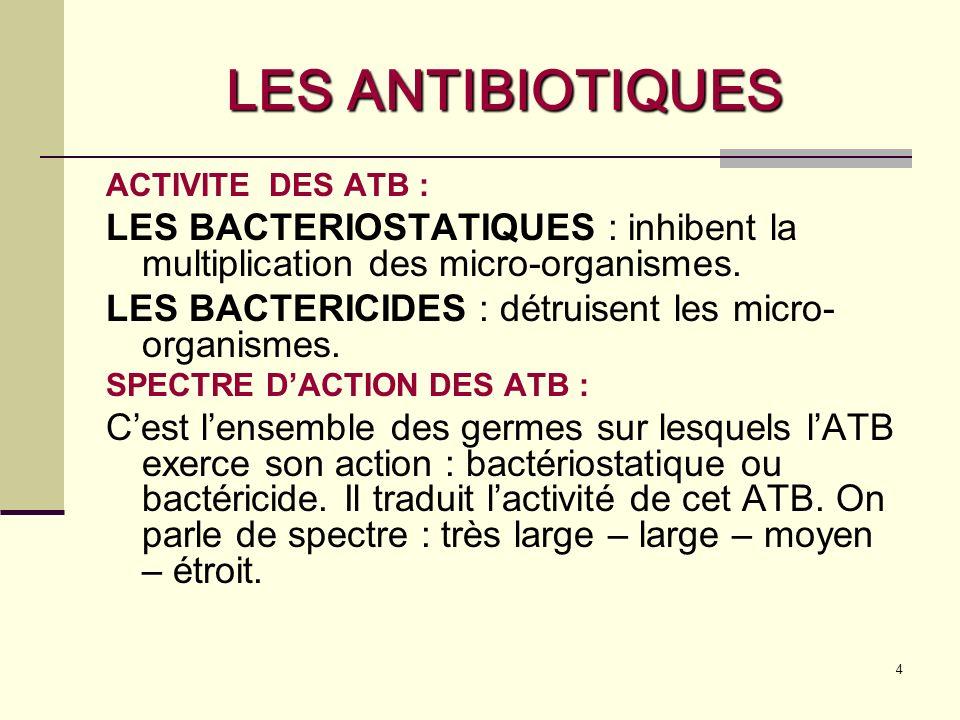 LES ANTIBIOTIQUES ACTIVITE DES ATB : LES BACTERIOSTATIQUES : inhibent la multiplication des micro-organismes.