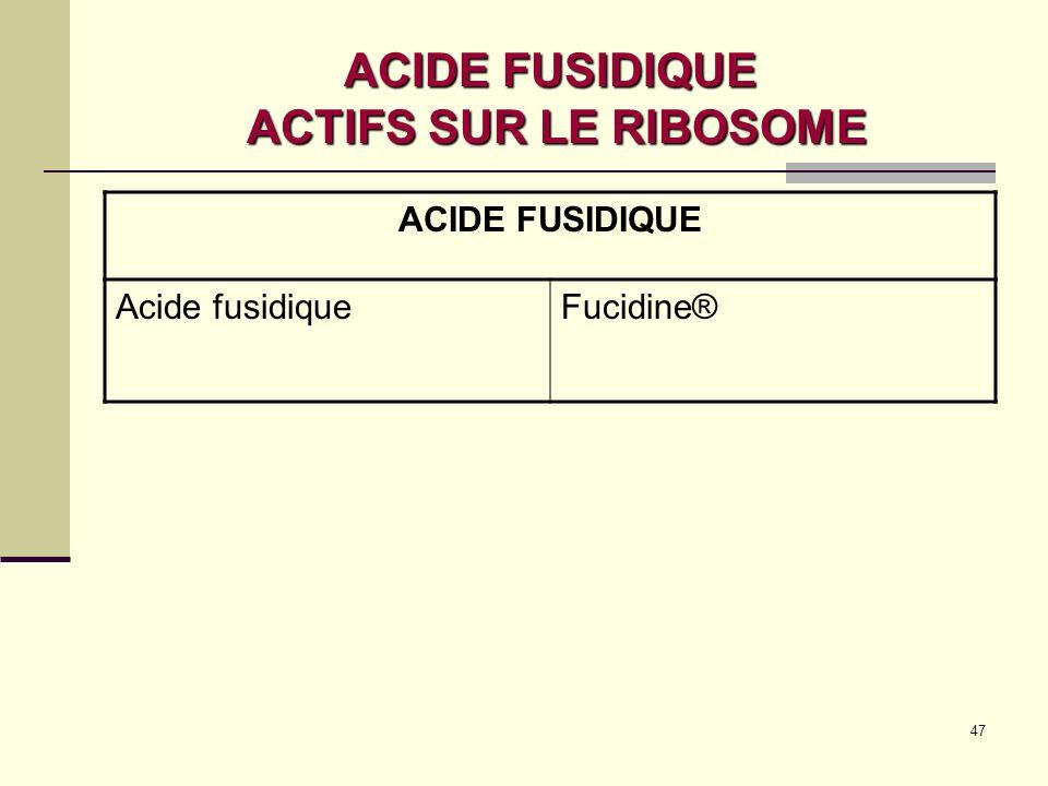 ACIDE FUSIDIQUE ACTIFS SUR LE RIBOSOME