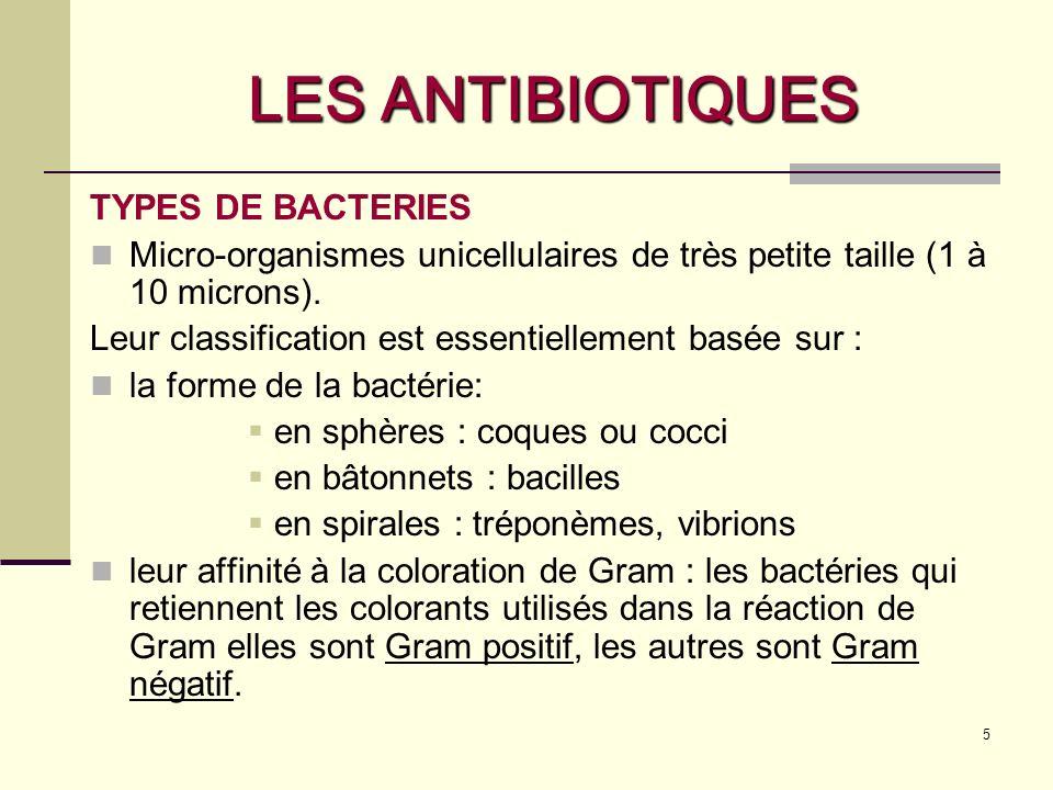 LES ANTIBIOTIQUES TYPES DE BACTERIES