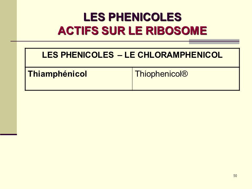 LES PHENICOLES ACTIFS SUR LE RIBOSOME