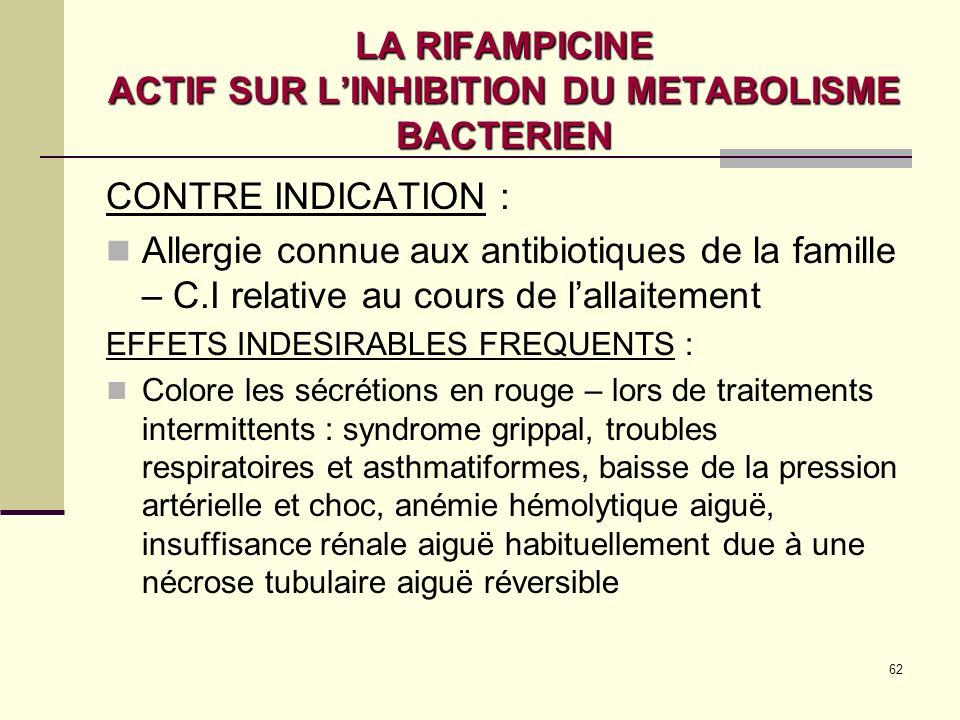 LA RIFAMPICINE ACTIF SUR L'INHIBITION DU METABOLISME BACTERIEN