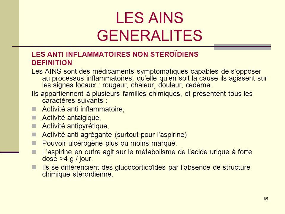 LES AINS GENERALITES LES ANTI INFLAMMATOIRES NON STEROÏDIENS