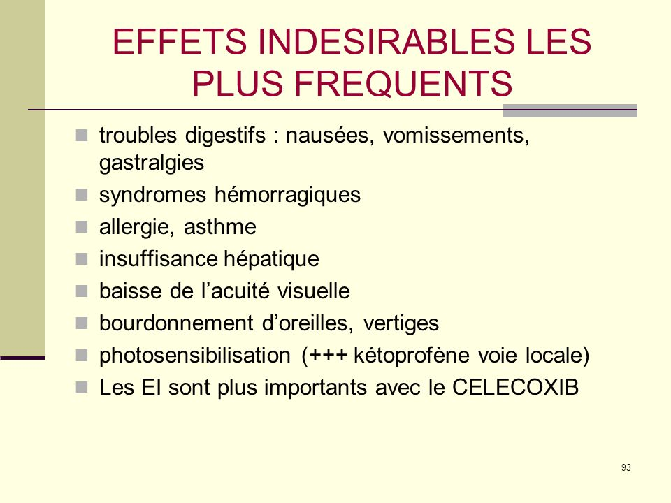 EFFETS INDESIRABLES LES PLUS FREQUENTS