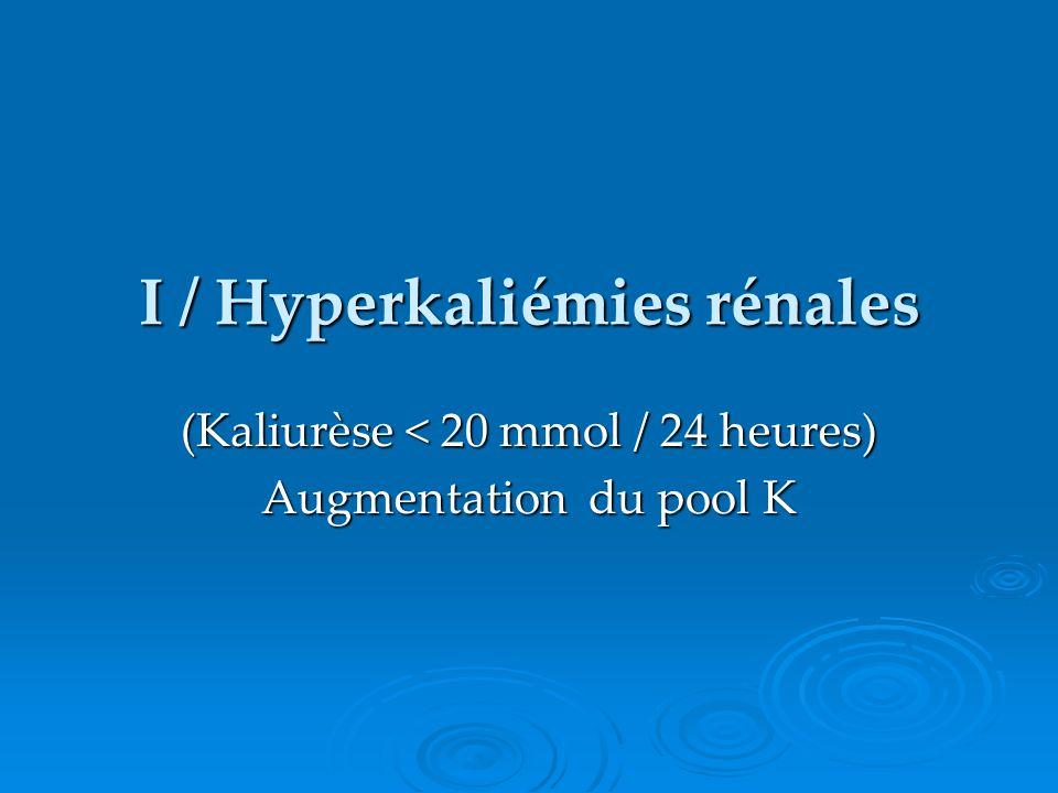 I / Hyperkaliémies rénales