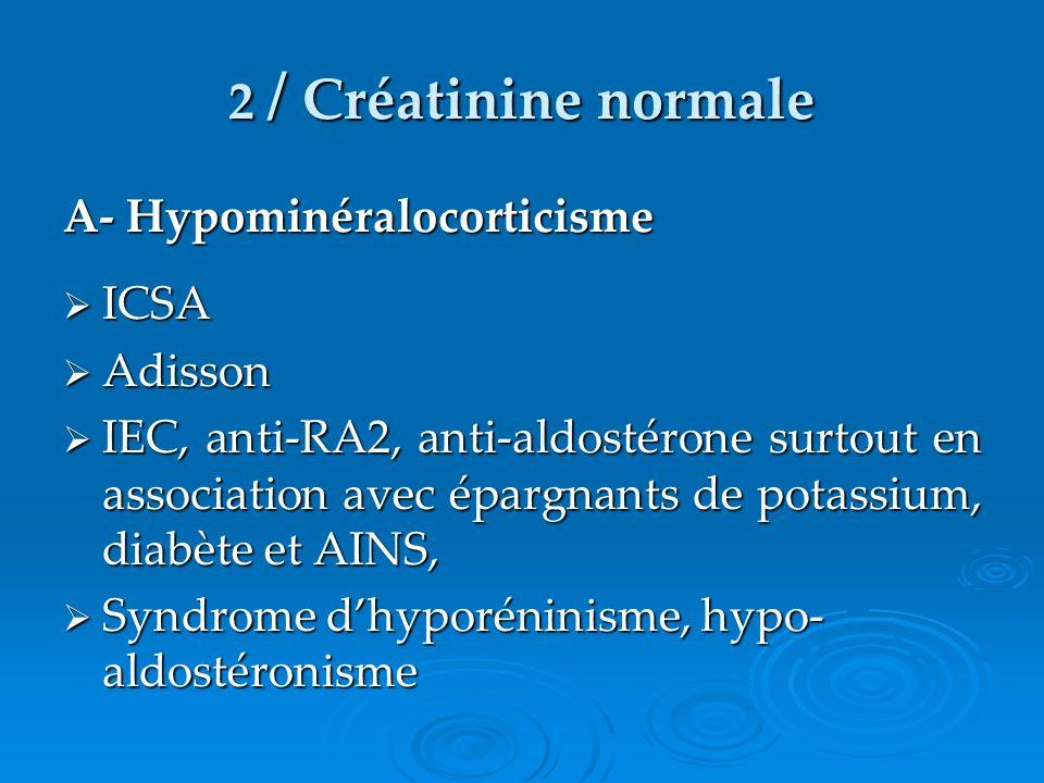 2 / Créatinine normale A- Hypominéralocorticisme ICSA Adisson