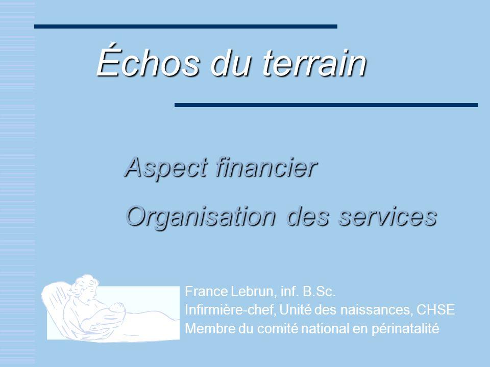 Échos du terrain Aspect financier Organisation des services