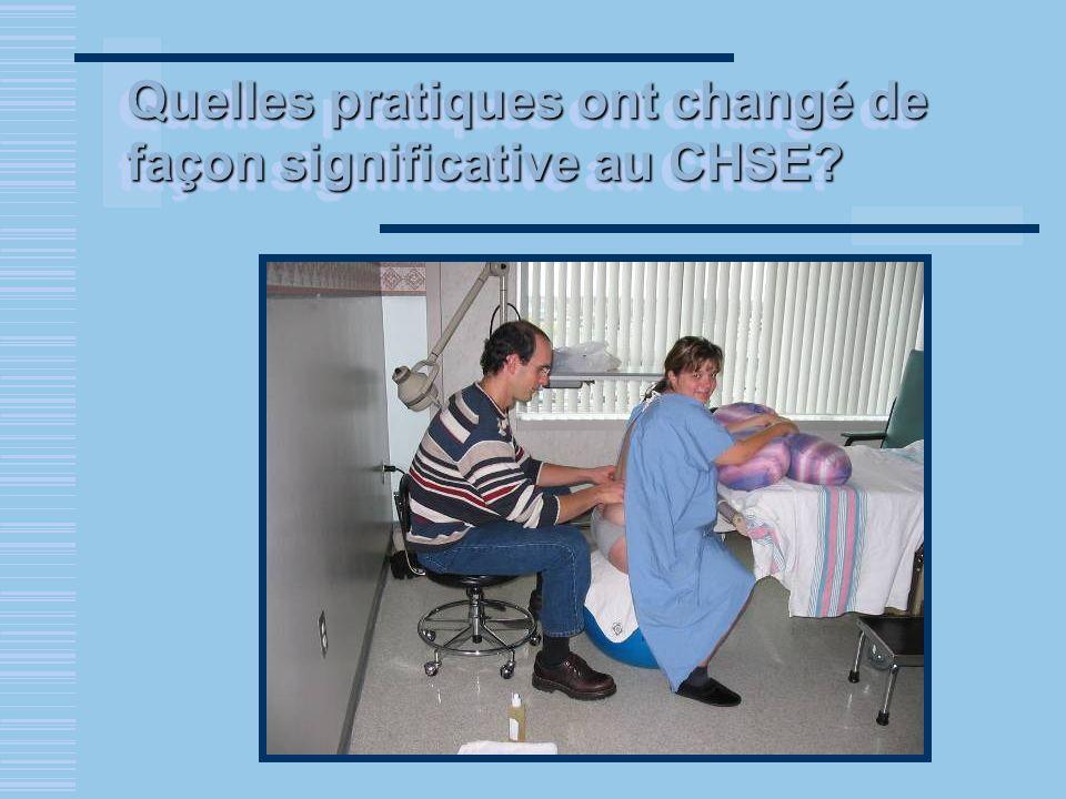 Quelles pratiques ont changé de façon significative au CHSE