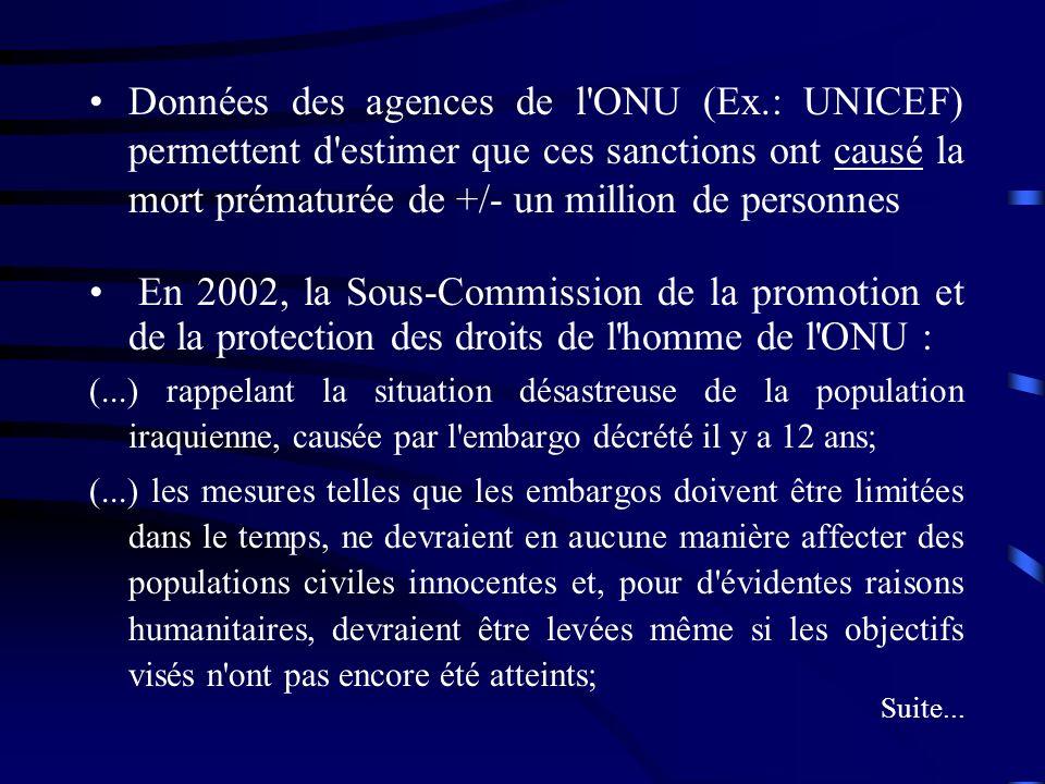 Données des agences de l ONU (Ex