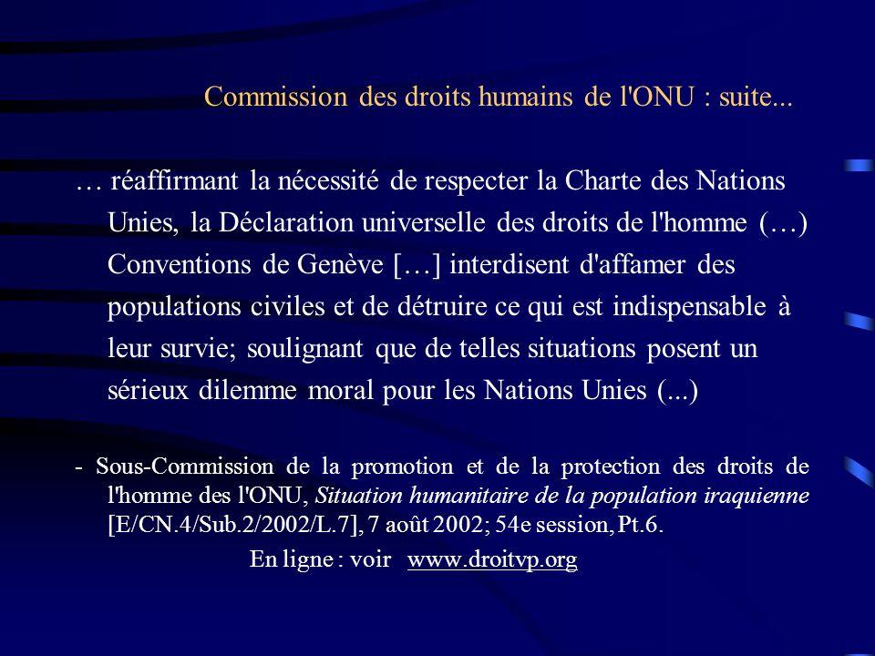 Commission des droits humains de l ONU : suite...