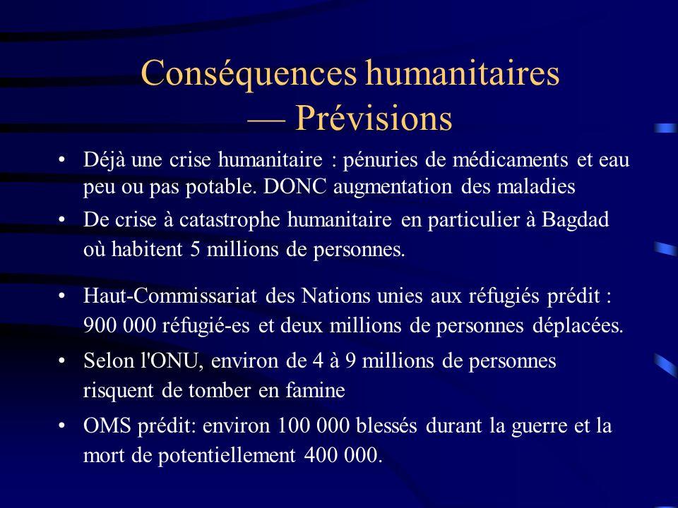 Conséquences humanitaires — Prévisions