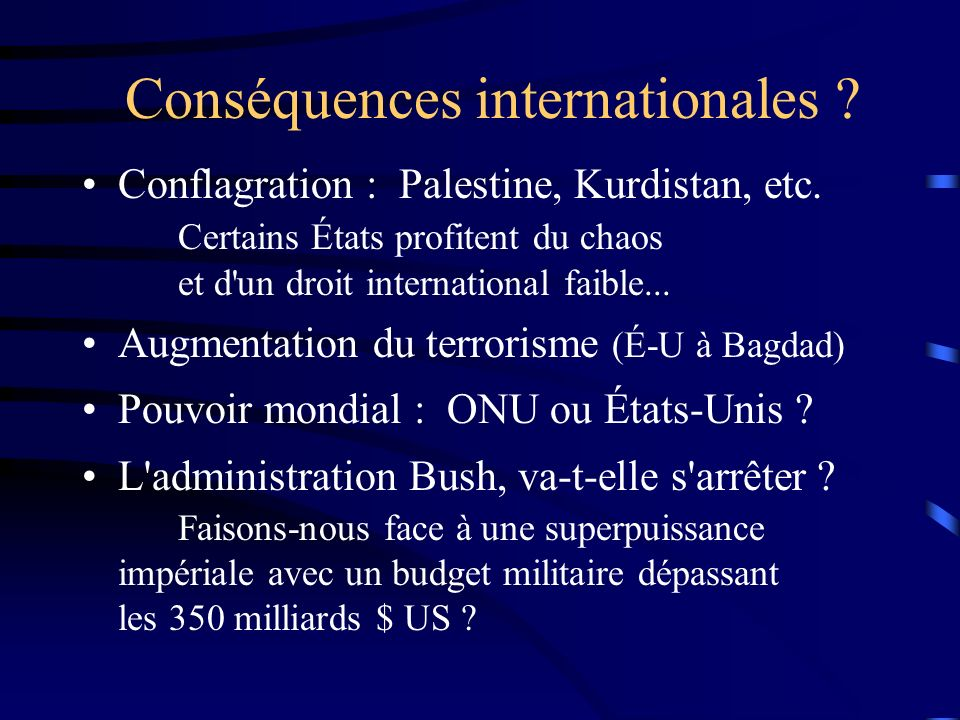 Conséquences internationales