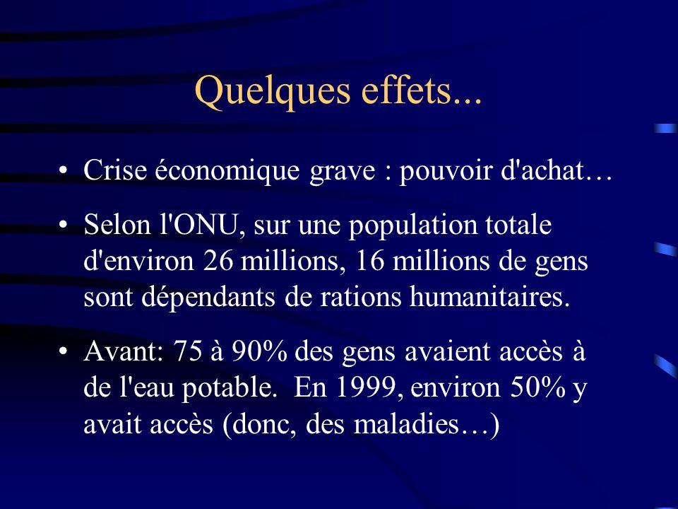 Quelques effets... Crise économique grave : pouvoir d achat…