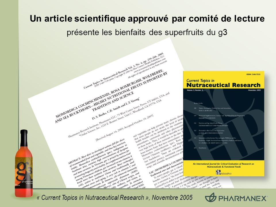 Un article scientifique approuvé par comité de lecture