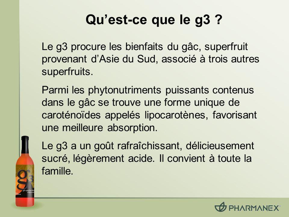 Qu'est-ce que le g3 Le g3 procure les bienfaits du gâc, superfruit provenant d'Asie du Sud, associé à trois autres superfruits.