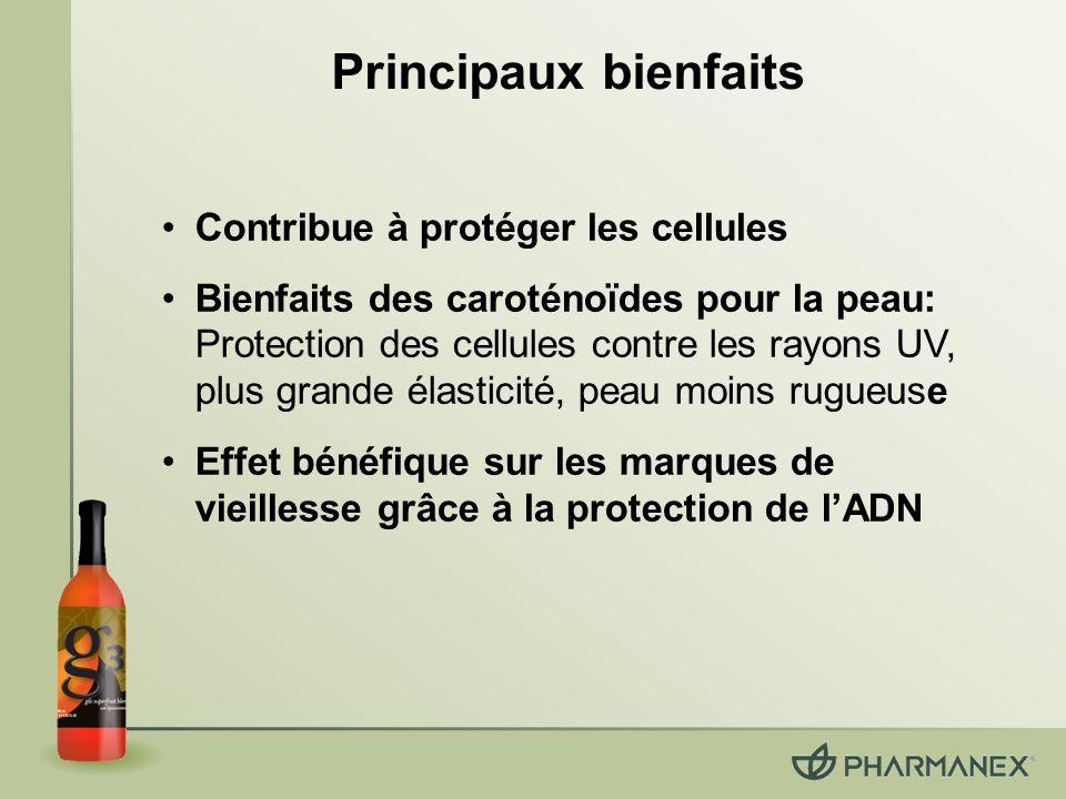 Principaux bienfaits Contribue à protéger les cellules