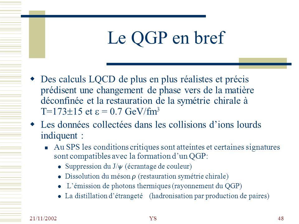 Le QGP en bref