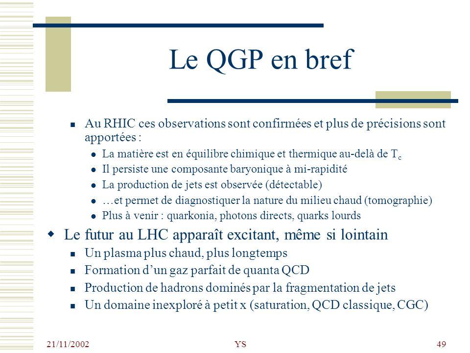 Le QGP en bref Le futur au LHC apparaît excitant, même si lointain