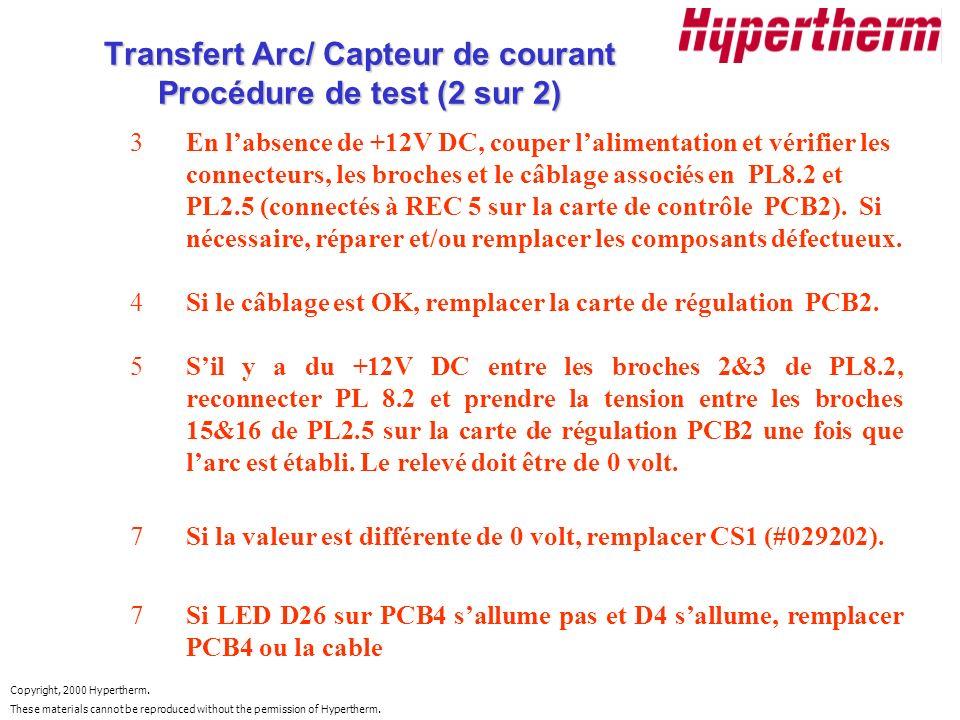 Transfert Arc/ Capteur de courant Procédure de test (2 sur 2)