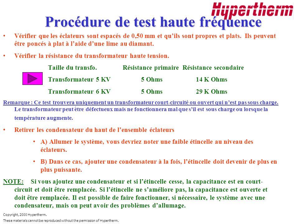 Procédure de test haute fréquence