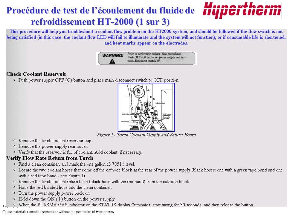 Procédure de test de l'écoulement du fluide de refroidissement HT-2000 (1 sur 3)