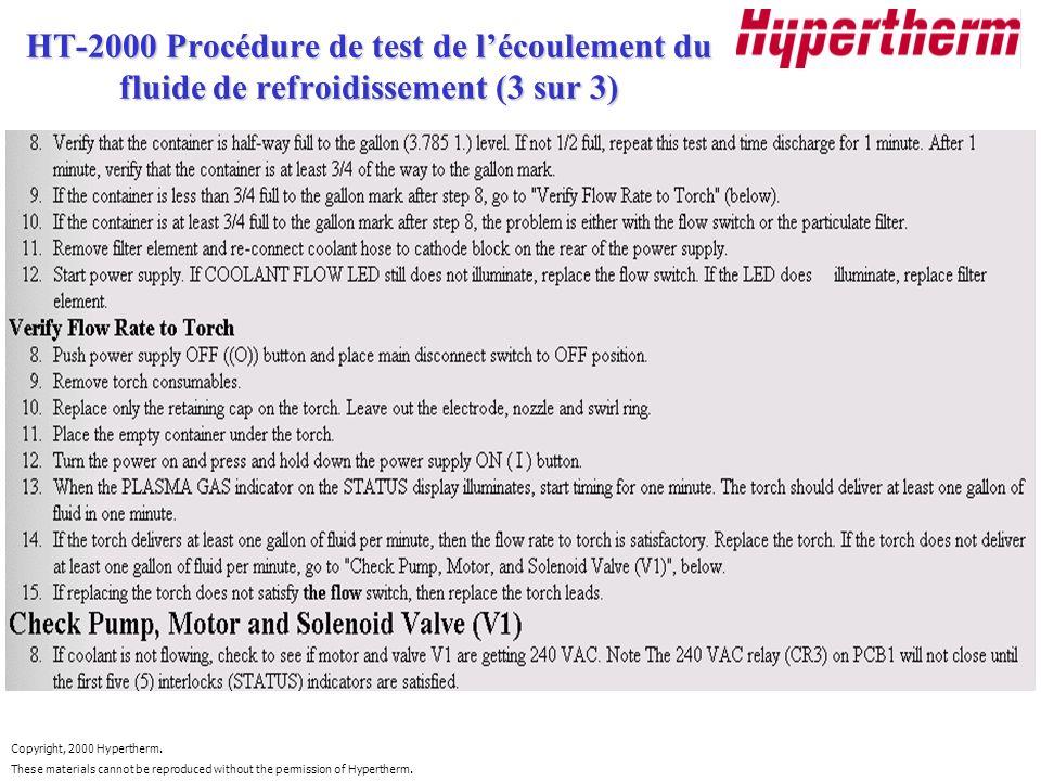 HT-2000 Procédure de test de l'écoulement du fluide de refroidissement (3 sur 3)