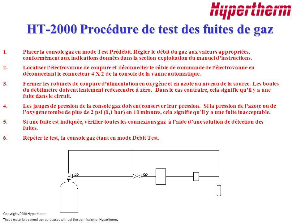 HT-2000 Procédure de test des fuites de gaz