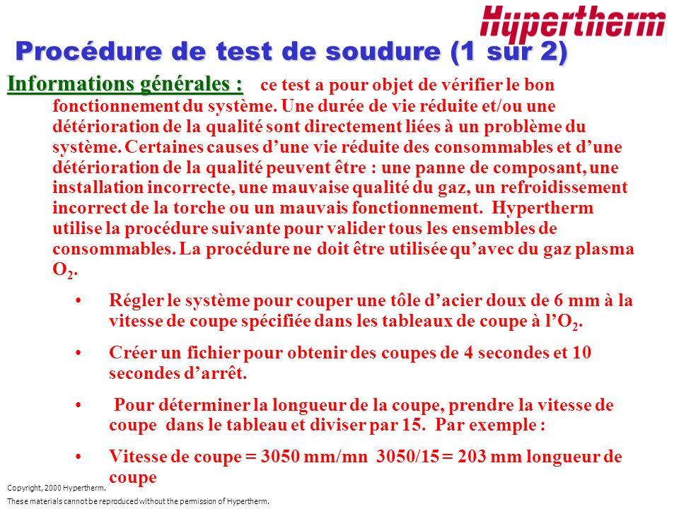 Procédure de test de soudure (1 sur 2)