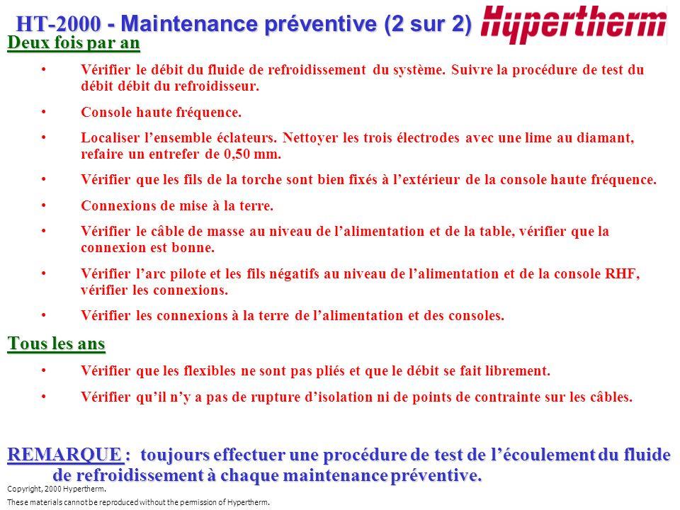HT-2000 - Maintenance préventive (2 sur 2)