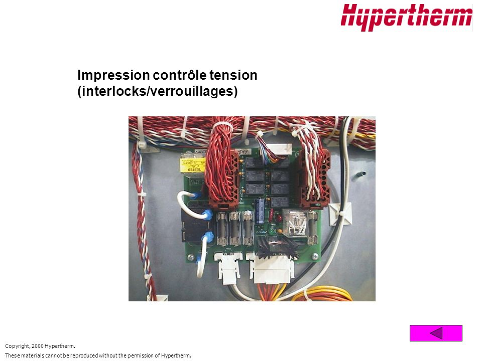 Impression contrôle tension (interlocks/verrouillages)