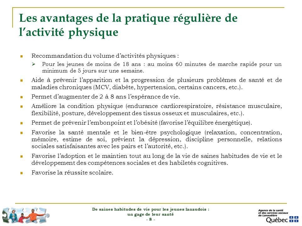 Les avantages de la pratique régulière de l'activité physique
