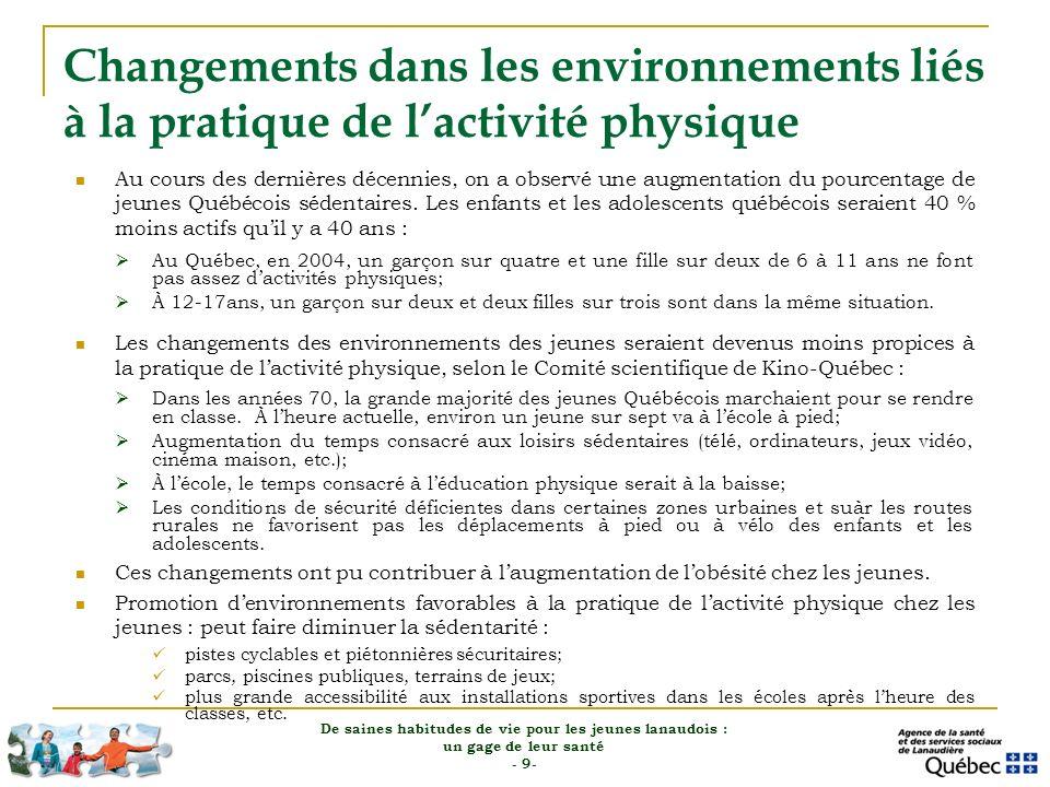 Changements dans les environnements liés à la pratique de l'activité physique