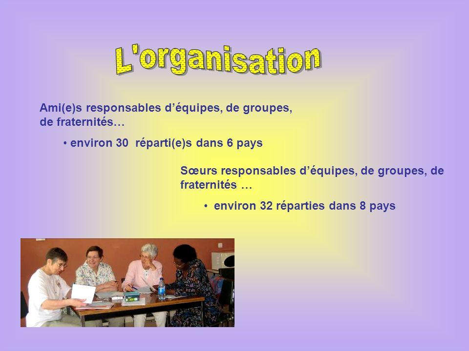 L organisation Ami(e)s responsables d'équipes, de groupes, de fraternités… environ 30 réparti(e)s dans 6 pays.