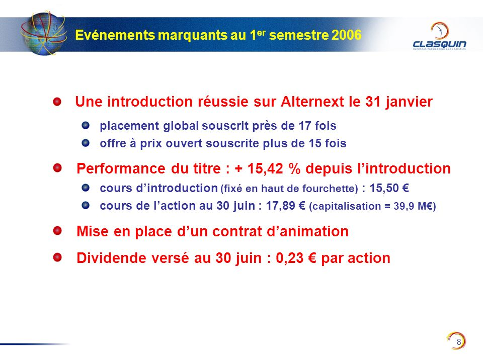 Performance du titre : + 15,42 % depuis l'introduction