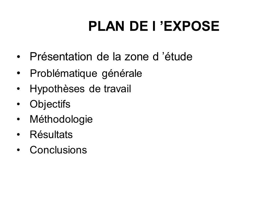 PLAN DE l 'EXPOSE Présentation de la zone d 'étude
