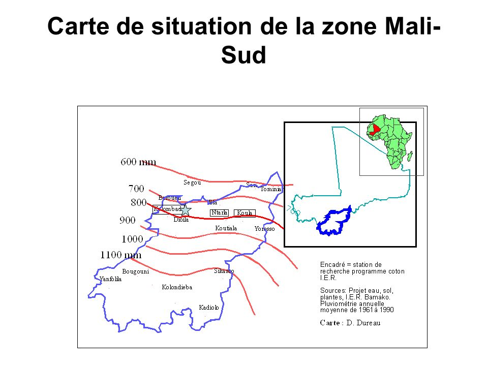 Carte de situation de la zone Mali-Sud