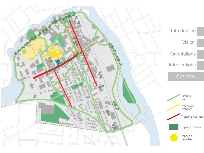 Circuits verts Nouveaux tronçons Tronçons commerciaux Espaces publics Espace à densifier