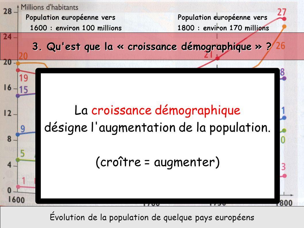 La croissance démographique désigne l augmentation de la population.